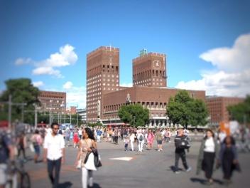 Exterior del Ayuntamiento de Oslo
